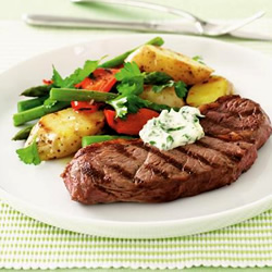 Chargrilled rump steak, potato salad and garlic mayonnaise