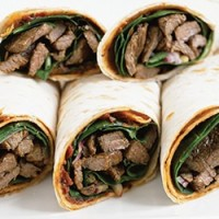 Chargrilled sirloin wraps