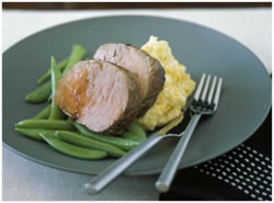 Honey glazed roast beef with corn and potato mash