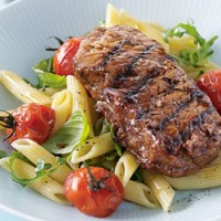 Balsamic Steak with Tomato Pasta Salad