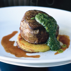 Steak with Fried Polenta & Pesto