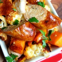 Roasted Sausages and Vegies