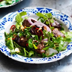 Garlic Beef Salad with Watercress