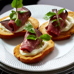 Wasabi and Rare Roast Beef Toasts