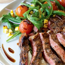 Soy and Maple Scotch Fillet with Grilled Corn and Tomato Salad