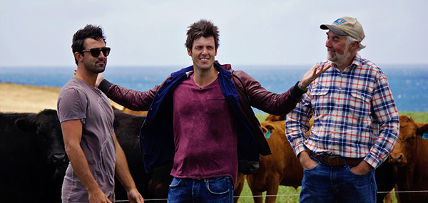 Ben Milbourne & Andy Allen from MasterChef with Cape Grim beef farmer John Bruce - image by Tara Dunstan