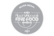 Silver Medal Royal Melbourne Fine Food Awards 2013