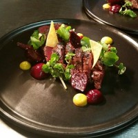Char grilled Cape grim flat iron, beetroot, mustard and cress