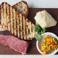 Ploughman's lunch,  corned Cape Grimbeef, pickles, cheddar