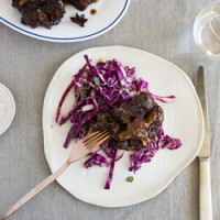 Sticky Sichuan pepper oxtail with purple cabbage slaw