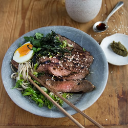 Miso marinated flat iron steak with soba noodles and yuzu koshu