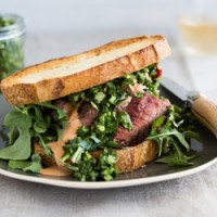 Grilled hanger steak sandwich with chimichurri and spiced mayo