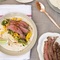 Beef flank tortillas with chargrilled corn