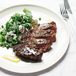 Cape Grim Scotch Fillet with Feta, Basil and Pea Salad