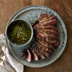 Roasted Cape Grim tri-tip with coriander chimichurri